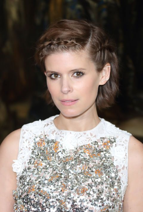 Fresh Double French Braids: Kate Mara's fall style proves French braids can work on bobs, too.: