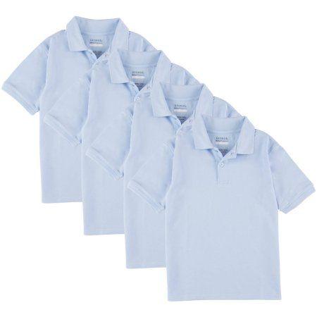 George Boys School Uniforms Short Sleeve Pique Polo Shirts, 4-Pack Value Bundle, Sizes 4-18(XS-XXL), Size: L (10/12), Blue