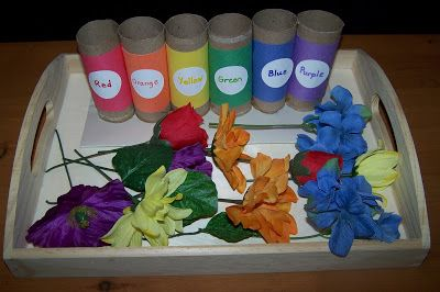 Sorting Colored Flowers Tot Tray: Learning Colors, Arranging Color, Activity Color, Preschool Colors, Flower Colors