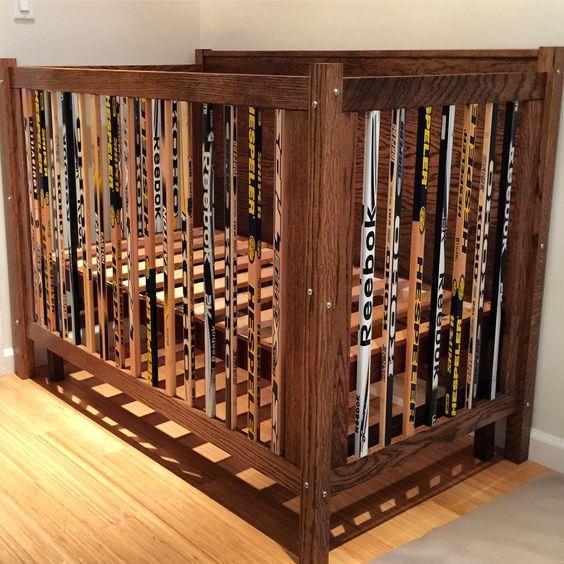 A crib i built out of hockey sticks and oak...