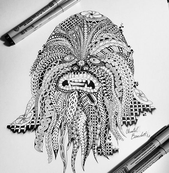 zentangle inspired star wars chewbacca drawing by chantel benedict artwork zentangle inpired. Black Bedroom Furniture Sets. Home Design Ideas