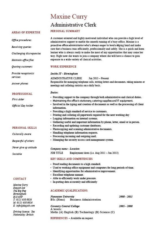 Administrative clerk resume, clerical, sample, template, job - resume for hotel front desk
