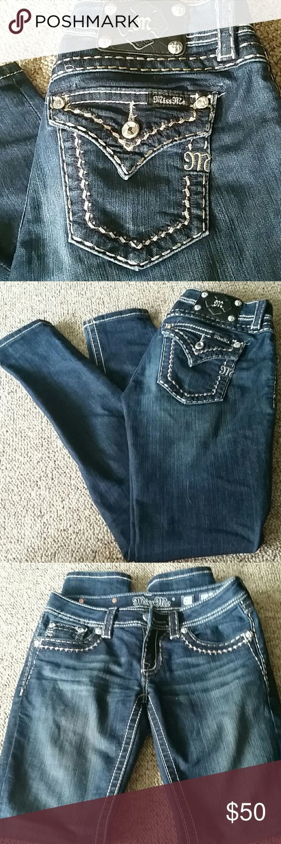 """Miss Me Jeans Excellent used condition.  No holes. No stains. No rips.  Hems are in perfect condition.  Style is """"skinny"""". Stone is missing off one pocket.    73% cotton / 25 % polyester / 2% elastic  Waist and body of jeans are stretchy  Waist 15 inches Inseam 31 inches  Width of hem 5 1/2 inches   ⚠Please make offers thru the OFFER TAB ONLY. I DO NOT negotiate on the listing.  ⚠  ❌No trades  ❌No other sites  ❌No modeling  13 Miss Me Jeans Skinny"""