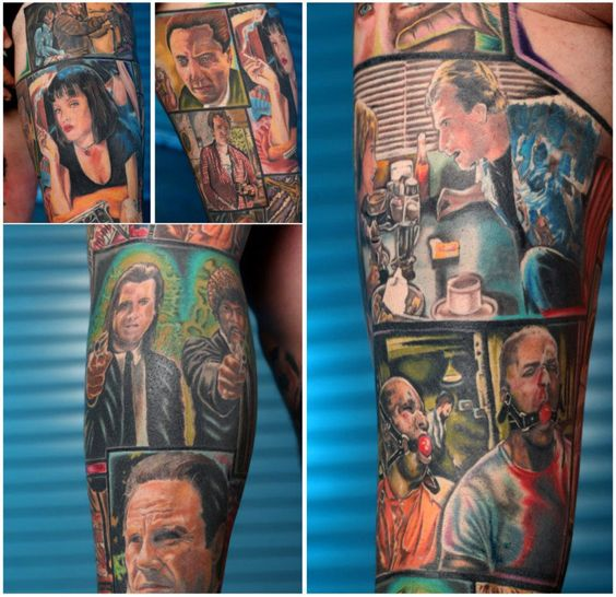 Awesome Pulp Fiction tattoo. Love the comic book style. Maybe that's how I'll have my Indiana Jones sleeve set up