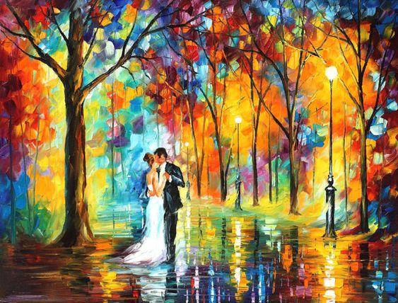 "Boda lluvioso — espátula Pintura al óleo sobre lienzo por Leonid Afremov - Tamaño: 40"" x 30"" (100 cm x 75 cm)"