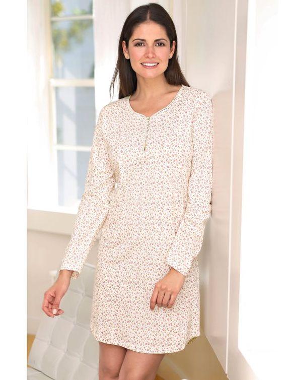 adjustable short sleeve print nightgown flowers