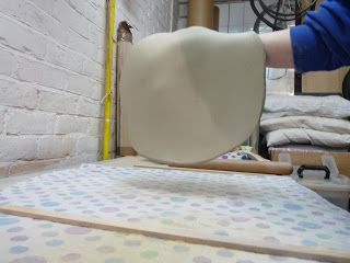 Just Pottering: Rolling clay slabs