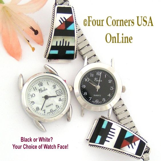 Four Corners USA Online - Women's Zuni Inlay Sterling Watch Tip Silver Jewelry by Leander and Lisa Otholi, $155.00 (http://stores.fourcornersusaonline.com/womens-zuni-inlay-sterling-watch-tip-silver-jewelry-by-leander-and-lisa-otholi/)