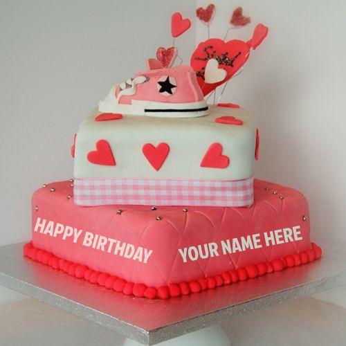 Write Name On Beautiful Pink Heart Birthday Cake Online