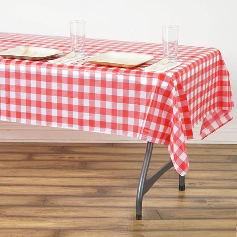 Buffalo Plaid Tablecloth 54 X 72 Rectangular White Red