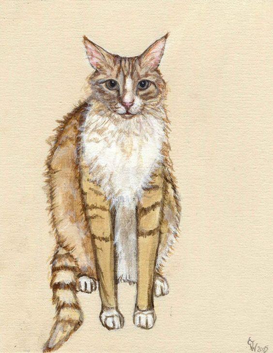 Orange  Cat  GREETING CARD Cat Art by AlmostAnAngel66 on Etsy, £2.50