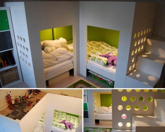 Separation Chambre Pour 2 Enfants Lits Espace Jeux En Mezzanine