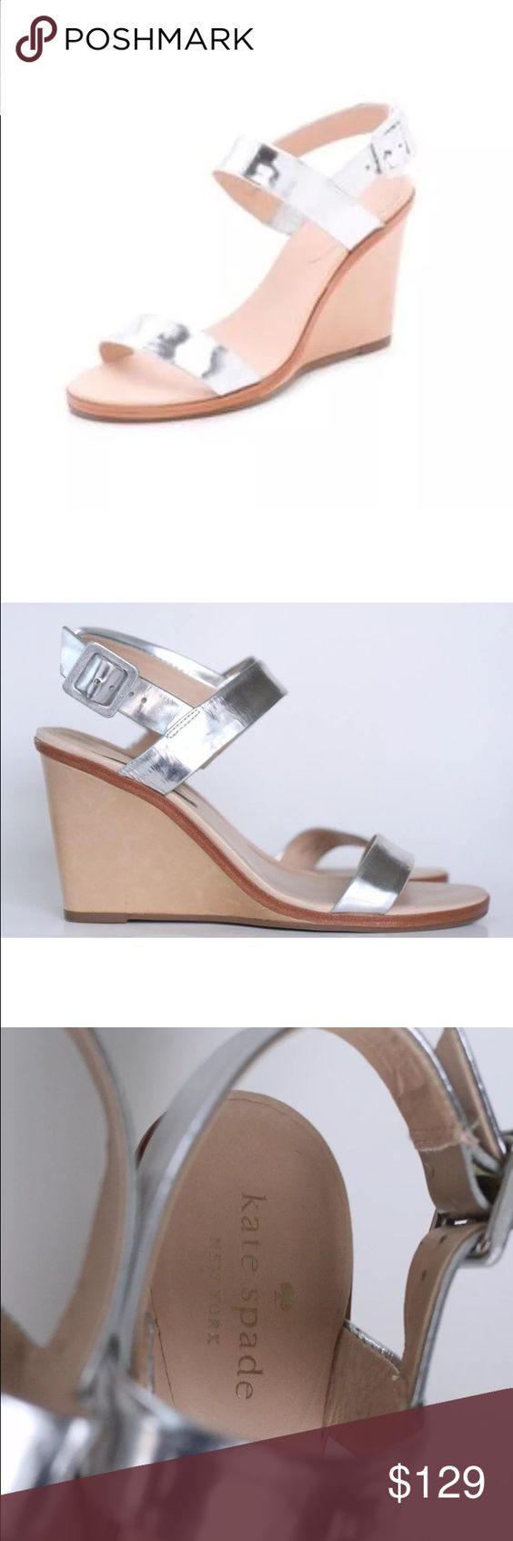 Kate Spade NY Nice Silver Wedge Sandals 8 Metallic straps offer a slick contrast to matte leather trim on Kate Spade New York sandals. Tonal buckle closure. Covered wedge heel. Rubber sole.  Leather: Goatskin. Made in Brazil.  Size 8M kate spade Shoes Sandals