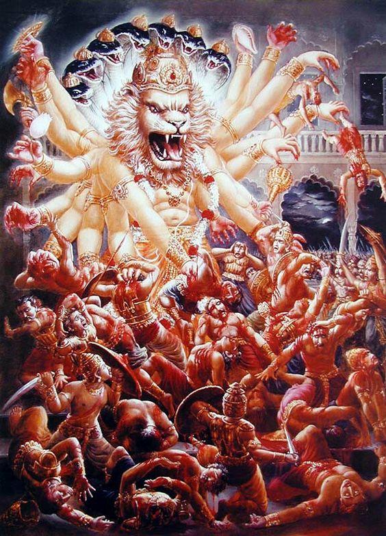 Sri Narasimha destroys Hiranyakashipu's army: