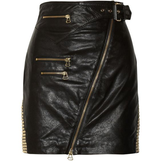 Pierre Balmain Studded leather skirt found on Polyvore