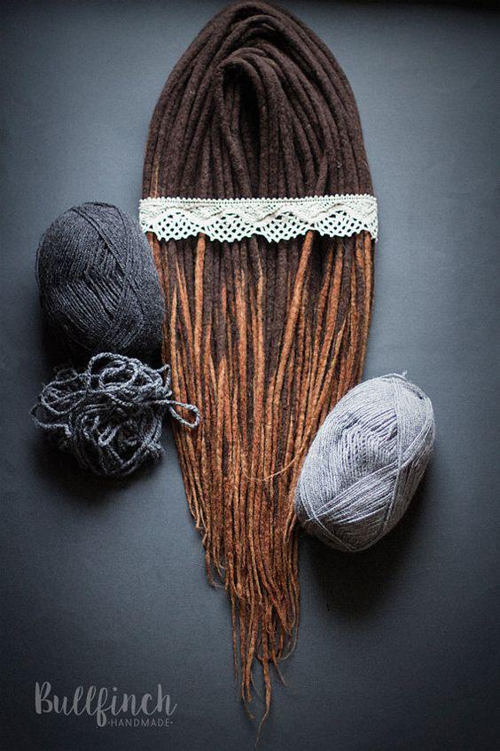 Wool Dreadlocks woolen dark brown long dreads by BullfinchHandmade #wooldreads #wooldreadlocks #dreadlocks #dreads #woolies #hippiedreads #girldreads #dreadsextensions #dreadlocs