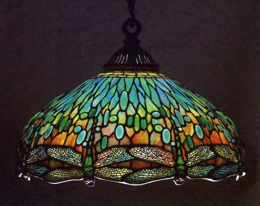 Tiffany Studios Hanging Head Dragonfly Chandelier Shade 22