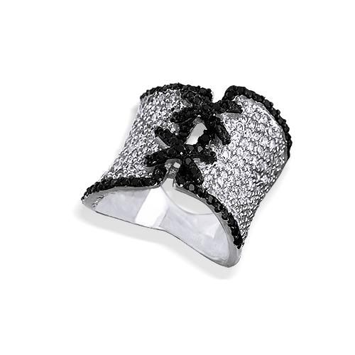 Black and White Ring Sterling Silver Pave Diamond CZ Corset