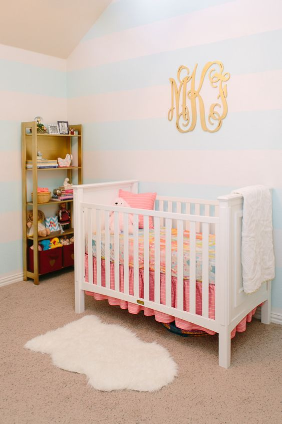 Modern Princess Nursery - love the subtle aqua and white striped walls in this sweet room! {more at projectnursery.com}: Modern Princess, Nursery Ideas Girl Princess, Paint Colors For Bedrooms,  Cot, Baby Girl, Baby Room