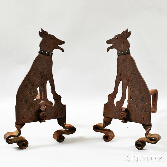 Pair of Wrought and Sheet Iron Dog-form Andirons