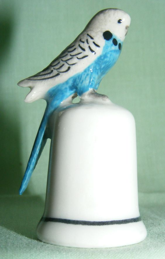 animal Thimble | click to enlarge klima porcelain budgerigar on thimble this thimble