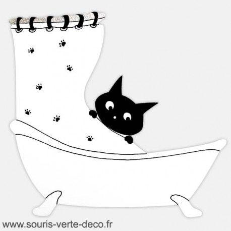 Plaque de porte de salle de bains humoristique chat noire for Plaque de porte wc et salle de bain