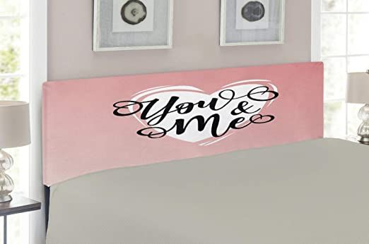 Lunarable You And Me Headboard Lovers Inspirational Lettering In A Heart Shape Modern Style Illustration Upholstere Metal Headboard Metal Decor Full Size Bed
