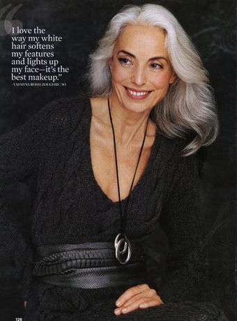 Yasmina Rossi.  Hmm. wonder if gray hair will soften my features and brighten my face. Hope so, because that's where I'm headed.: