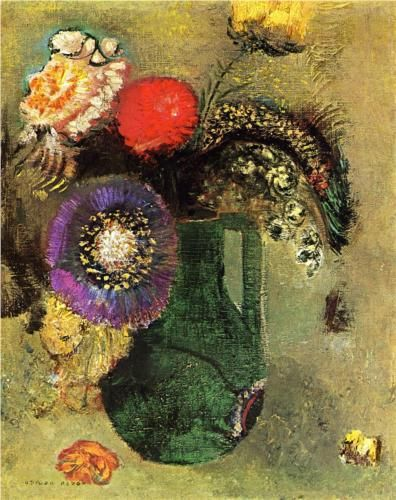Flowers in Green Vase with Handles, Odilon Redon, 1905