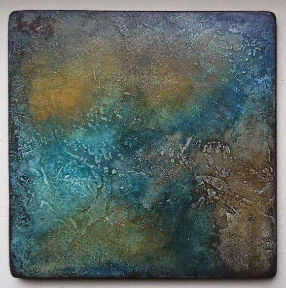 L'ivre de matières et de couleurs: Limbes 3 by Elisabeth Couloigner   20x20 cm.  Technique : medium enduit, pigments, encres pigmentées, encres gomme laque.