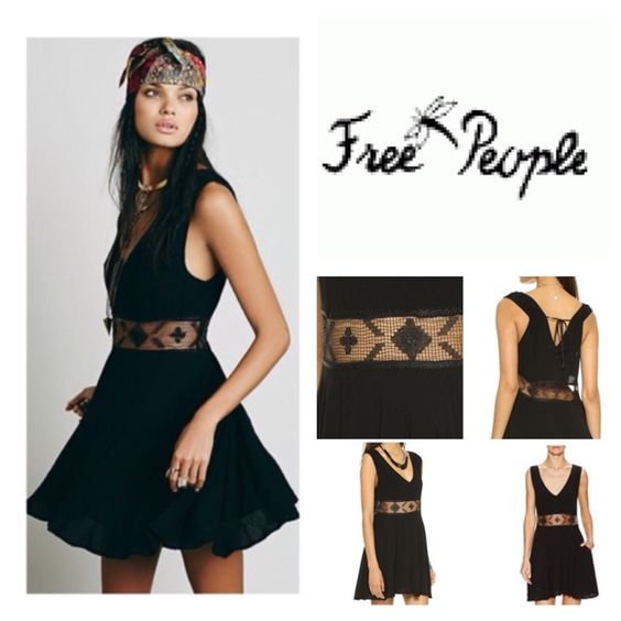 Free People Black Dress A breezy Free People tank dress with sheer lace at the waist. The revealing, double-V neckline is trimmed with back ties. On-seam hip pockets. Lined.  Fabric: Crinkled plain weave. 100% rayon. Hand wash cold. Free People Dresses