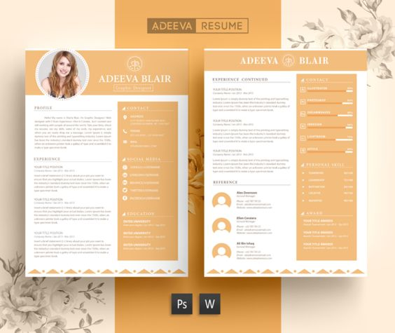 3 Page Resume Template INDD + DOCX @creativework247 Modern - 3 page resume
