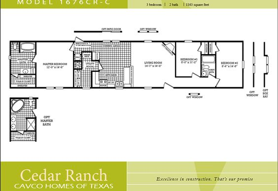 Scotbilt mobile home floor plans singelwide cavco homes for 2 bedroom mobile home floor plans