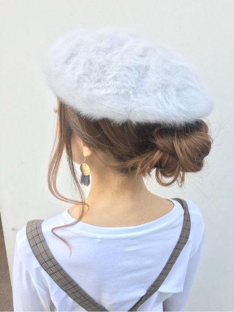 ベレー帽 お団子のオンナ度急上昇アレンジ ヘアスタイル ロング