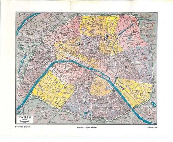 Paris Vintage City Plan Street Map 1920s France – Streetmap France