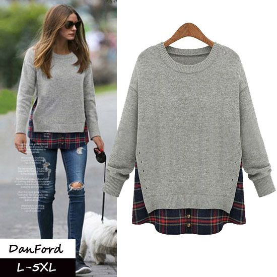 Find More T-Shirts Information about New Brand Women Plus Size Pullover T shirt Gray Loose T shirt  for Women DFWB 039,High Quality sweater vest t shirt,China sweater skirt Suppliers, Cheap sweater outlet from DanFord on Aliexpress.com