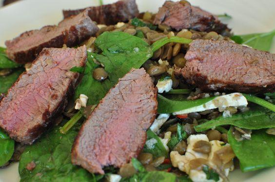 warm lamb and lentil salad