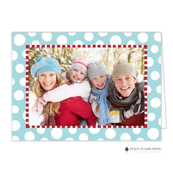 Funky Dot-Aqua Print & Apply Photo Card by Invitation Duck