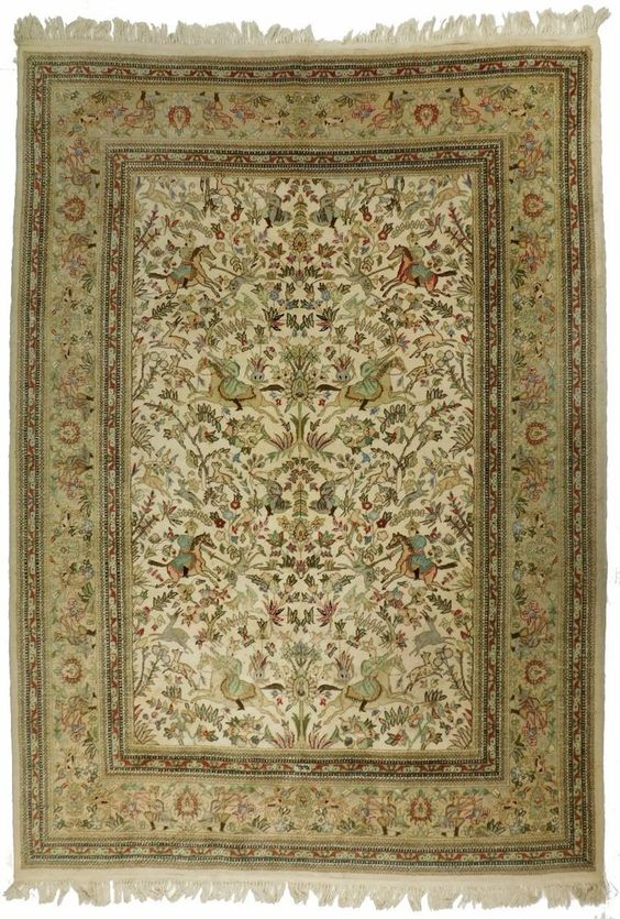 Mid Century Semi Antique Persian Tabriz Huntig Scene 6 1 X 8 6 Huntingscene With Images Hand Knotted Rugs Antiques Mid Century