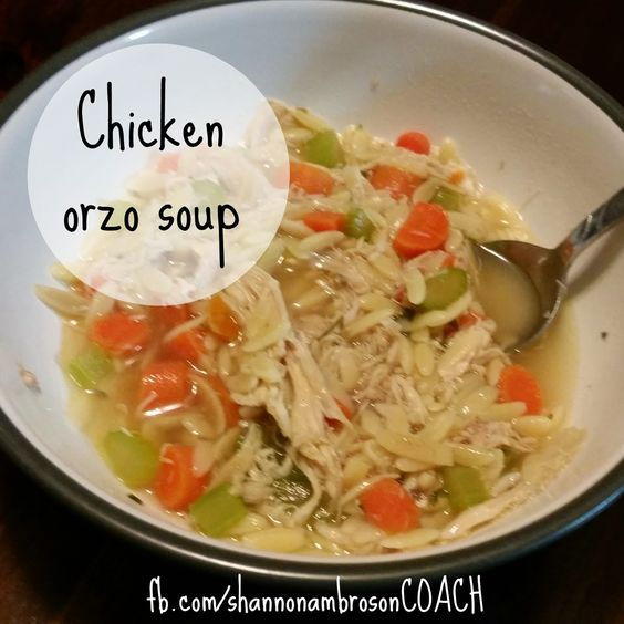 Chicken Orzo Soup  21 Day Fix Approved: 1 Red 1 Green 1 Yellow
