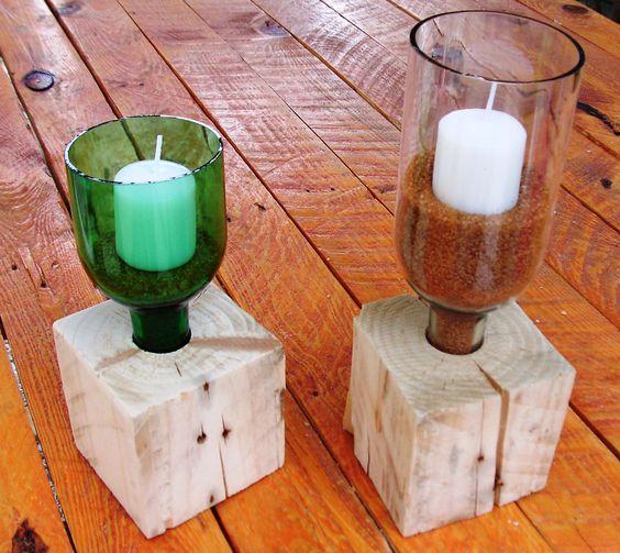 soporte para velas con botellas recicladas y madera de palet botellas