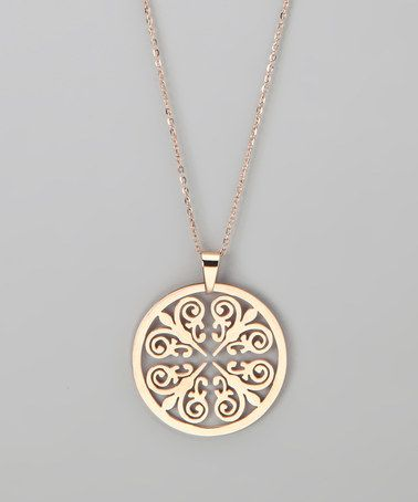 hmy jewelry rose gold round pendant necklace online. Black Bedroom Furniture Sets. Home Design Ideas