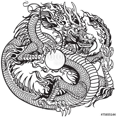 Asian Chinese Dragon Holding Pearl Black And White Tattoo Style Vector Illustration Tattoo Illustration Dragon Tattoo Sketch Chinese Dragon