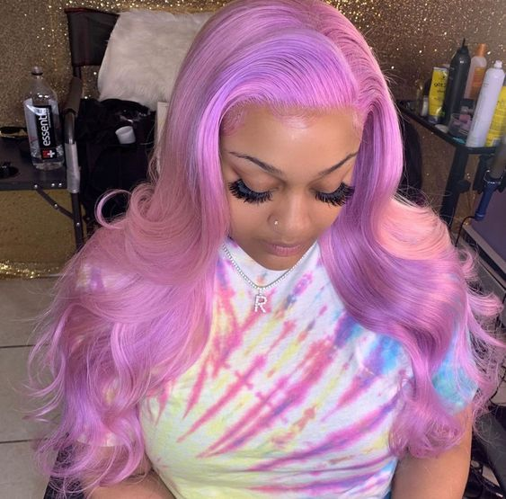 Custom made and colored deep purple body wave lace front wig 24inches