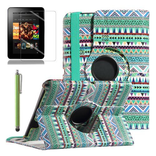 "-Kindle Fire HD 7 Case, ULAK 360 Degree Rotating PU Leather Stand Case Cover for Amazon Kindle Fire HD 7"" (2012 Previous Model, Not Fit All New Kindle Fire HD 2013 Model and Kindle Fire HDX) with Auto Sleep-Wake Function and Screen Protector with Stylus (Tribal Green) ULAK"