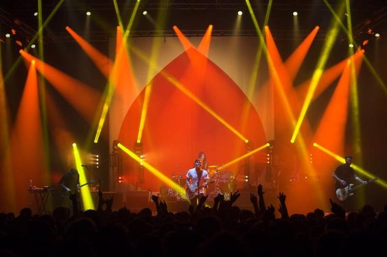 "Gaslight Anthem tour. ""Get Hurt"" album campaign. lighting designer Jeff Maker. Read more http://livedesignonline.com/first-robe-bmfls-tour-uk-gaslight-anthem"