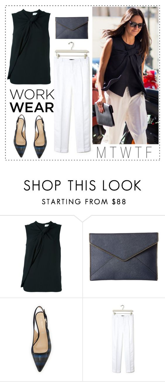 """Classic Work Wear"" by bluehydrangea ❤ liked on Polyvore featuring Carven, Rebecca Minkoff, Ron White and Banana Republic"