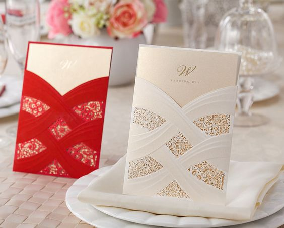 50 sets of wedding invitation cards, envelopes, custom personalized printing