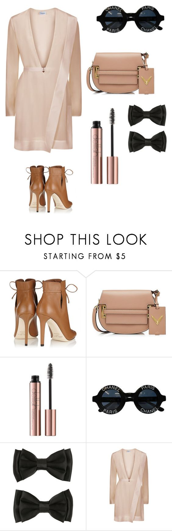 """""""10/1/2016 set the date off right"""" by kayla-w0n ❤ liked on Polyvore featuring Jimmy Choo, Valentino and Chanel"""