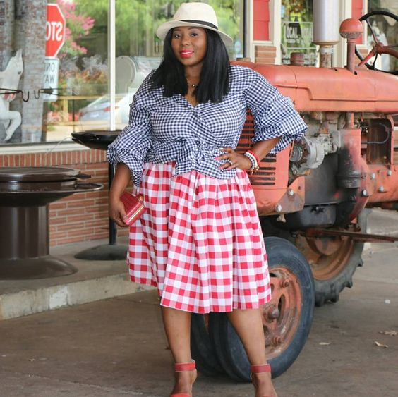 #thatssewmonica self drafted gingham pleated blouse and skirt! #gingham #sewyourown